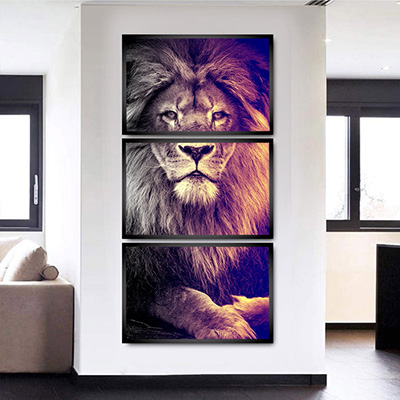 Quadro Decorativo Leão Para Sala Corredor
