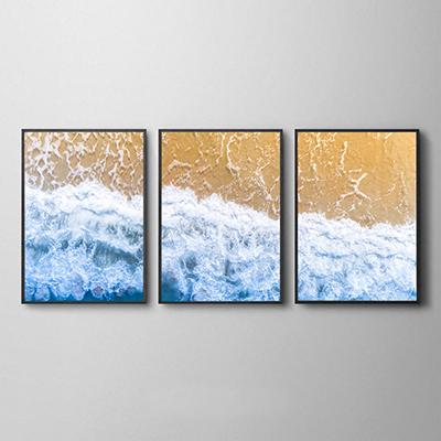 Trio Conjunto de Quadros Para Sala Ondas do Mar