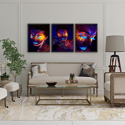 Trio De Quadros Decorativos Woman Color Art Abstrato Colorido