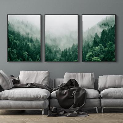 Trio de Quadros Para Sala Floresta Verde Neblina