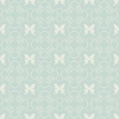 Papel de Parede Arabesco Verde com borboleta