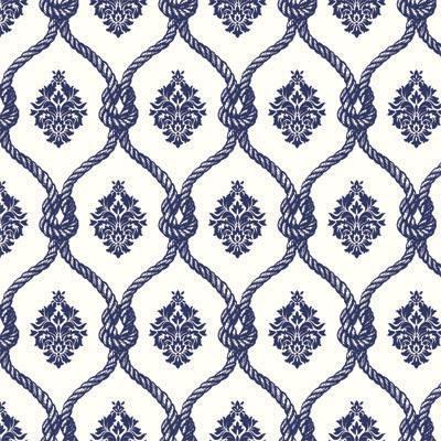 Papel de Parede Arabesco Azul com cordas