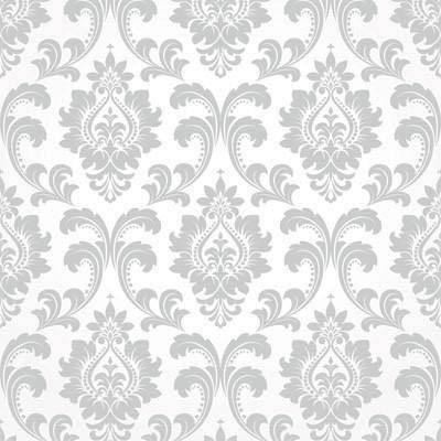Papel de Parede Arabesco Cinza com fundo branco