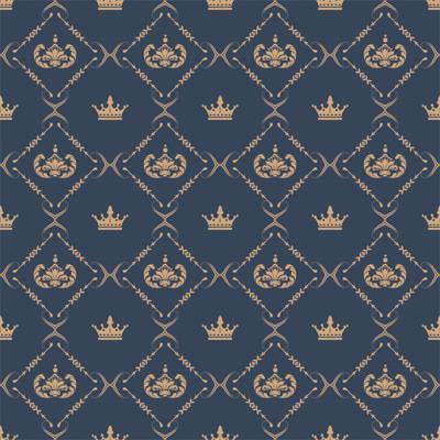 Papel de Parede Arabesco Azul com coroa royal