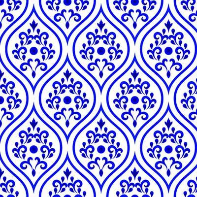 Papel de Parede Arabesco Azul Para Quarto Sala