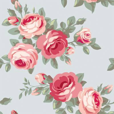 Papel de Parede Estilo Floral Rosas e folhas com fundo claro