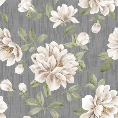 Papel de Parede Floral Estampa de Flor Branco com fundo cinza