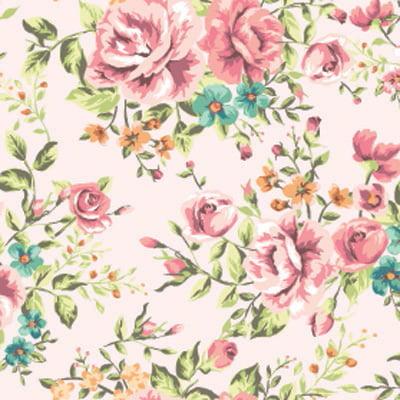 Papel de Parede Floral Classico Rosa com fundo claro