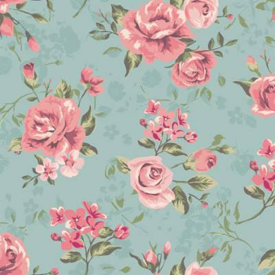 Papel de Parede Floral Rosa com fundo azul