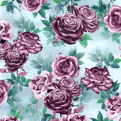 Papel de Parede Estampa Floral com rosas escuras