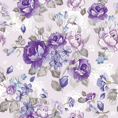 Papel de Parede Floral Com Rosas e Flores Lilas e Roxo