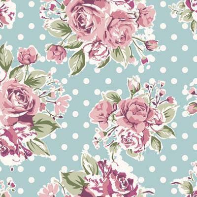 Papel de Parede de Rosas com fundo azul e bolinhas brancas
