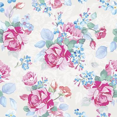 Papel de Parede Rosas com Flores Folhas Azuis