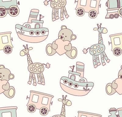 Papel de Parede para quarto de bebe ursinho girafa e trem