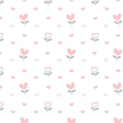 Parede de Parede Quarto Menina Infantil Florzinha Coração Rosa