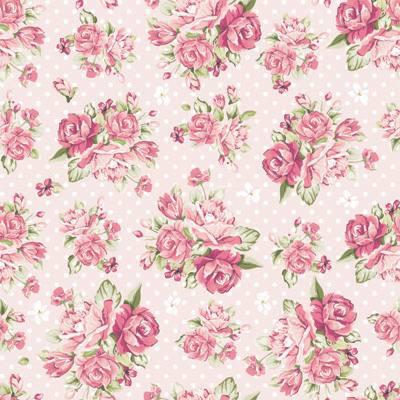 Papel de Parede Floral com rosas e fundo rosa claro