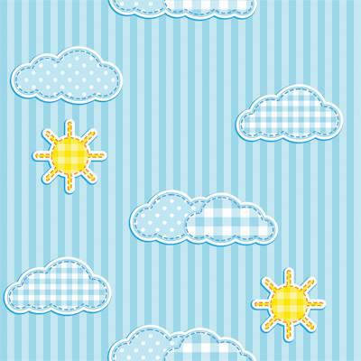 Papel de Parede Infantil para meninos listrado azul com sol e nuvens