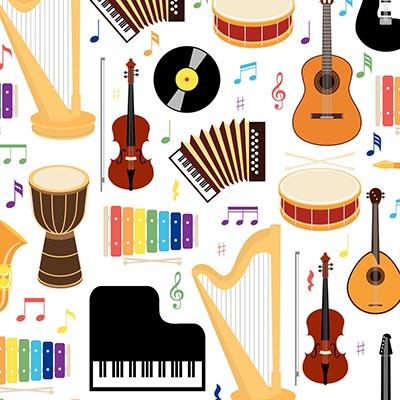 Papel de Parede Quarto Sala Recepção Música Instrumentos