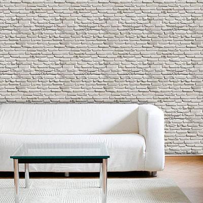 Papel de Parede Tijolo Rustico Branco Adesivo Autocolante PD59