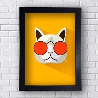 Quadro Decorativo Cat Óculos