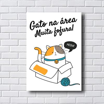 Quadro Decorativo Gato na Area Muita Fofura