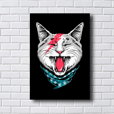 Quadro Decorativo Gato Rock And Roll