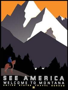Placa Decorativa See America Montana Cartão Postal PDV585