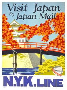 Placa Decorativa Visit Japan Cartão Postal PDV590