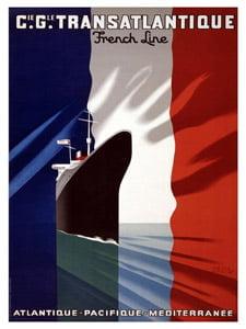 Placa Decorativa França Transatlantico Cartão Postal PDV587