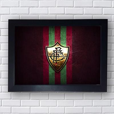 Placa Quadro Decorativo  Clube Fluminense Dourado