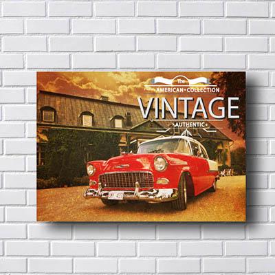 Quadro Carro Vintage Vermelho