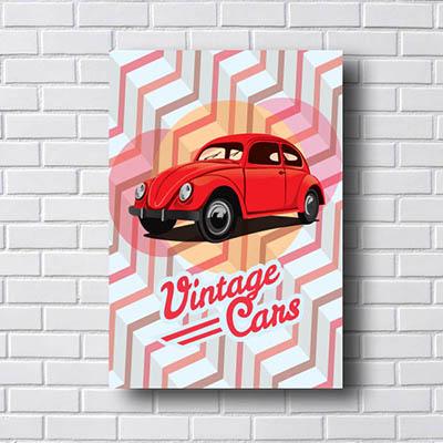 Quadro Vintage Fusca Vermelho