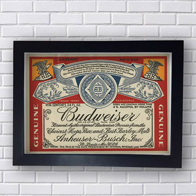 Placa Decorativa Budweiser Rotulo