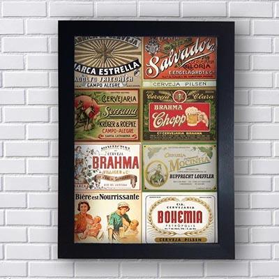 Quadro Decorativo Cervejas Retro