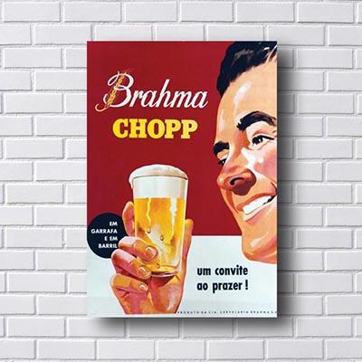 Quadro Vintage Brahma Chopp Um Convite ao Prazer