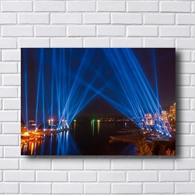 Quadro Para Sala Cidade Luz Azul