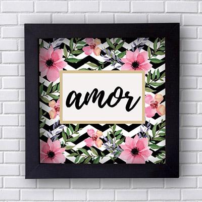 Quadro  Decorativo Amor com Flores