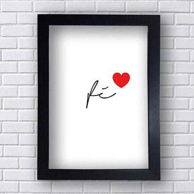 Quadro  Decorativo Fé Com Coração