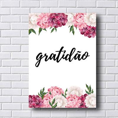 Quadro  Decorativo Gratidão Com Flores