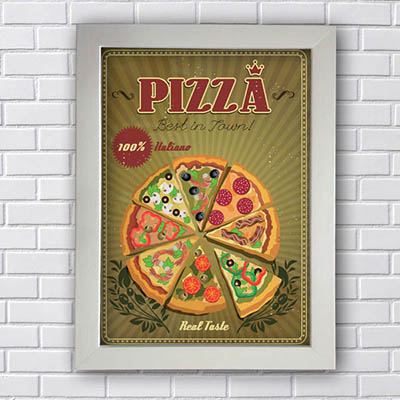 Quadro Decorativo Pizza 100% Italiano