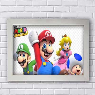 Quadro Decorativo Super Mario World 3D
