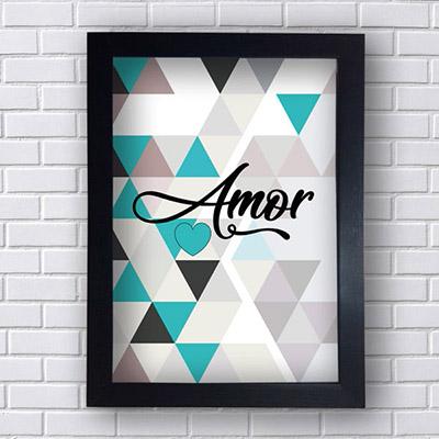 Quadro Decorativo Amor com Triângulos
