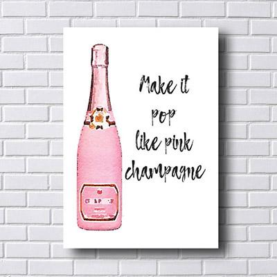 Quadro Decorativo Champagne Rosa