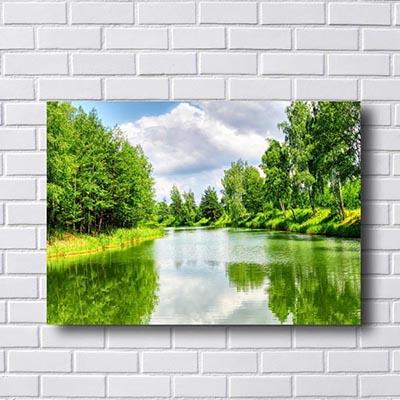 Quadro Paisagem Lago e Árvores