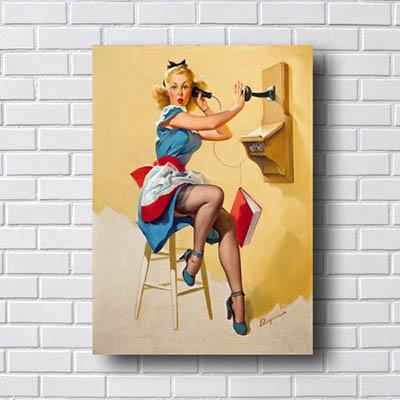 Quadro Decorativo Pin Up Mulher Telefone