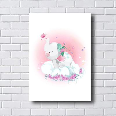 Placa Quadro Decorativo Infantil elefante e flores