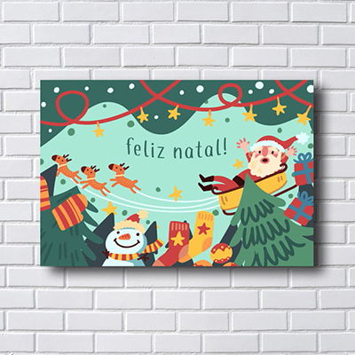 Placa Quadro Feliz Natal Papai Noel  Trenó