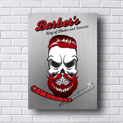 Quadro de Barbearia Skull
