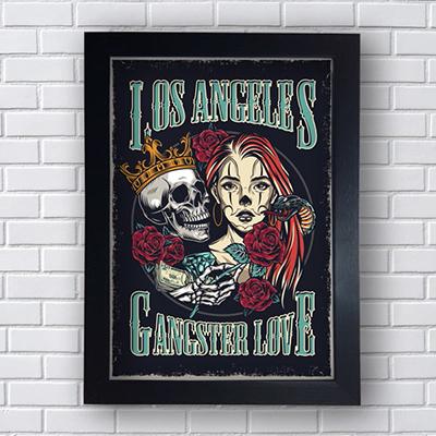 Placa Quadro Decorativo Los Angeles Gangster Love