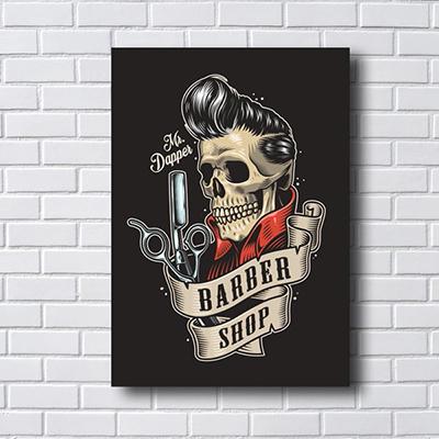 Placa Quadro Decorativo Senhor Barber Caveira